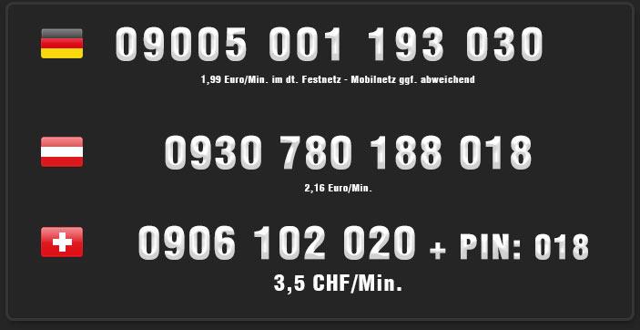 Nummern für Telefonsex mit einer Hausfrau - Deutschland, Österreich, Schweiz